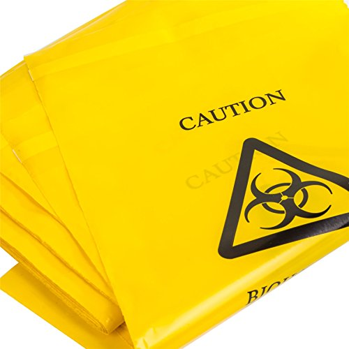 50x Yellow Biohazard Bags - 35cm x 20cm - Self Seal Clinical Sick/Vomit Disposal from White Hinge