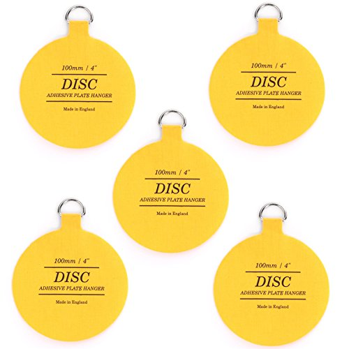 "5x Invisible 100mm Disc Picture Adhesive Hangers For 12"" Plates from White Hinge"