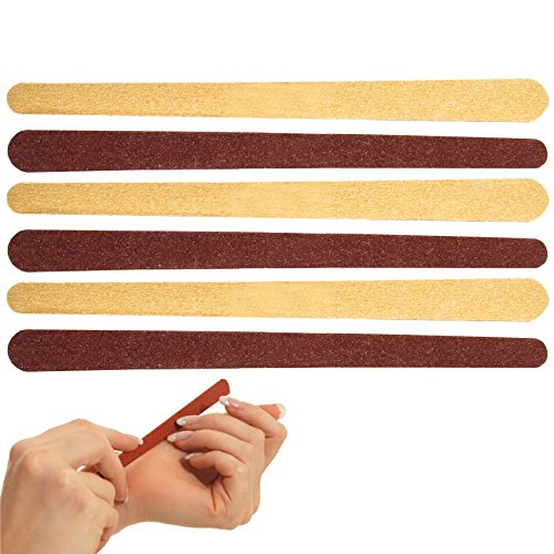 6x Salon Quality Extra Long Emery Boards - Manicure/Pedicure Nail Files from White Hinge