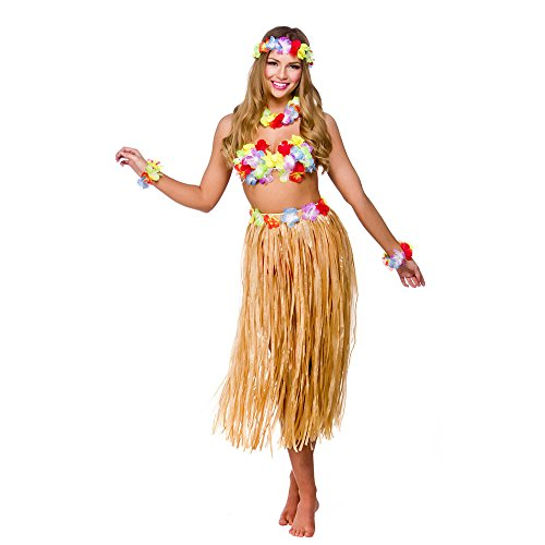 Hawaiian Girl Skirt & Leis Fancy Dress Ladies National Dress Womens Costume Set from Wicked Costumes