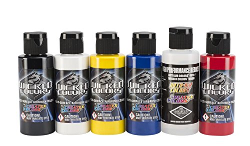 Createx Wicked Colors Primary Airbrush Paint Set W101 from Wicked Wicked
