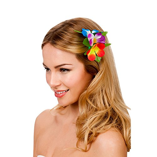 Hawaii Flower Hair Clip MULTI Outfit Accessory for Tropical Fancy Dress from Wicked Costumes
