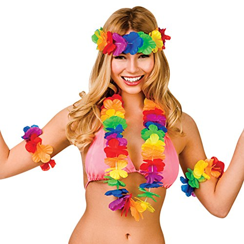 Hawaiian Waikiki 4 Piece Lei Set Fancy Dress Accessories Summer Luau Beach Party from Wicked Costumes