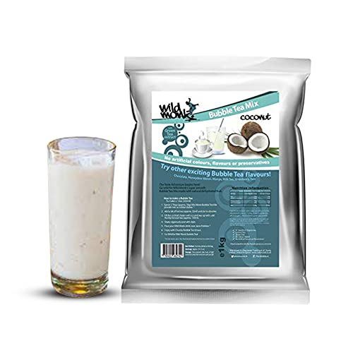 Wild Monk Coconut Bubble Tea Powder (1kg). Make Bubble Tea Drinks at Home. Just add Water. Great Quality Ingredients, 100% Vegetarian. from Wild monk