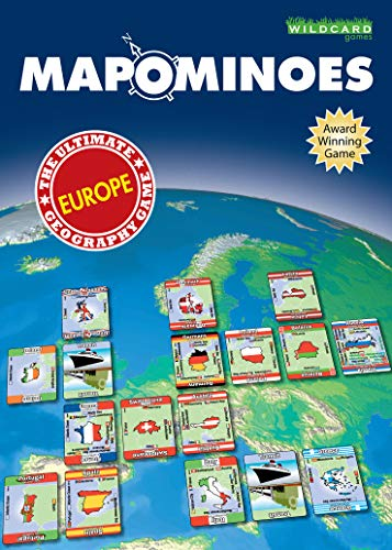MAPOMINOES EUROPE - The Ultimate Geography Game - Fun and educational travel card game for kids teenagers and adults. Like dominoes with maps. from Wildcard Games