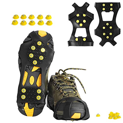 willceal Ice Cleats, Ice Grippers Traction Cleats Shoes and Boots Rubber Snow Shoe Spikes Crampons with 10 Steel Studs Cleats Prevent Outdoor Activities from Wrestling (Extra 10 Studs) (Extra Large) from willceal