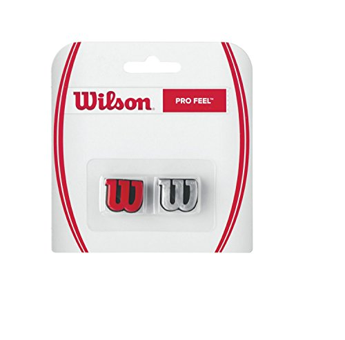 Wilson Tennis Vibration Dampener with Logo for Rackets, Pro Feel, 2 Pack, Red/Silver from Wilson
