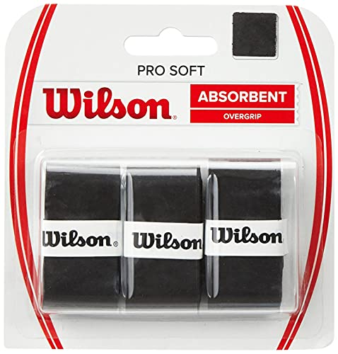 Wilson Unisex-Adult's Pro Soft Tennis Racket Overgrip Pro Soft, Black, Pack of 3 from Wilson