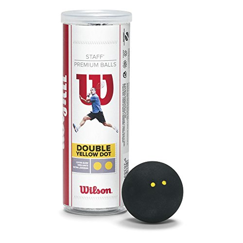 Wilson Unisex 2 Ball Dbl Dot Staff Squash, Black/Yellow, One Size from Wilson
