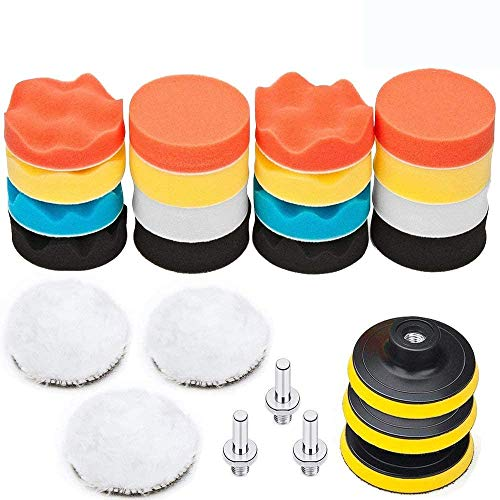 "BangShou 25 Pack 3"" Polishing Pads, Sponge Buff Pads Set Kit with M10 Drill Adapter, Compound Auto Car Polisher from BangShou"