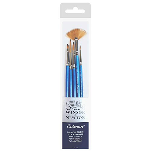 Winsor & Newton Cotman Brush Short Handle 5 Pack (Version 1), Synthetic, Pack of 5 from Winsor & Newton