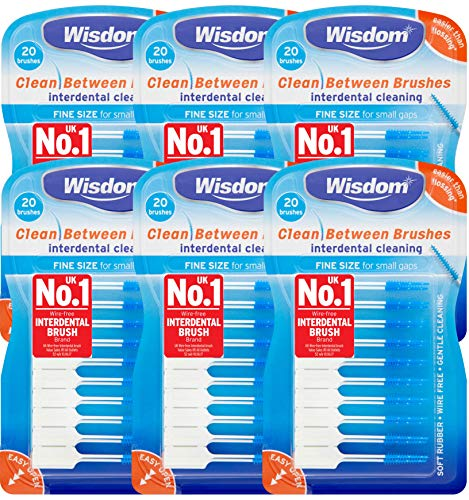 6x Wisdom Clean Between Interdental Brushes - Pack of 20 – Size Fine Blue from Wisdom