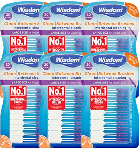 Wisdom Clean Between Interdental Large Purple Brushes - Pack of 6, Total 120 from WISDOM
