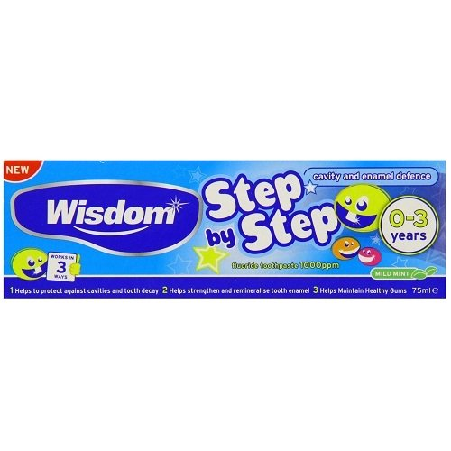 Wisdom WIS057P Toothpaste, Step By Step 0-3 Years, Cavity and Enamel Defense Fluoride, 75 mL from Wisdom