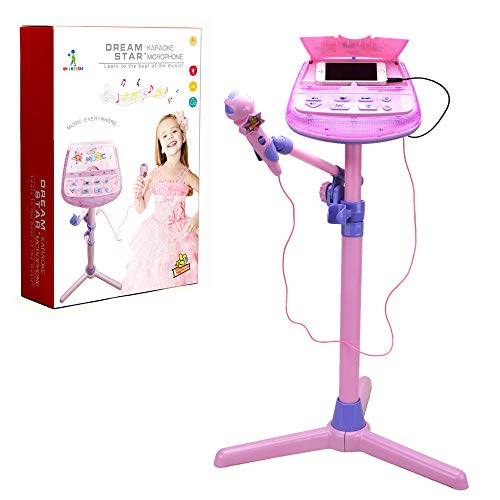 Karaoke Microphone Adjustable Stand - Wishtime ZM16038 Pink External Music Function & Flashing Lights Toy for Kids Children Girls from Wishtime