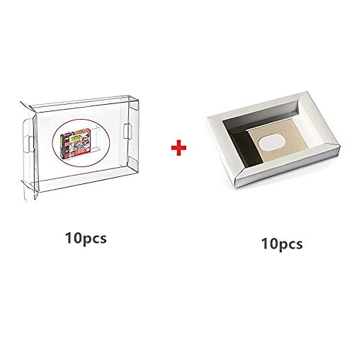 WiCareYo 10Pcs Carton Replacement Inner Inlay Insert Tray for PAL & NTSC Super SNES CIB Game Cartridge & 10pcs Clear Box Sleeve for SNES N64 Games Cartridge Box from Witop