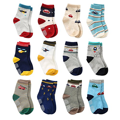 12 Pairs Toddler Boy Non Skid Socks Cute Cotton with Grips, Baby Boys Anti-skid Socks (0-6 Months, 12 Pairs Plane & Car) from Wobon