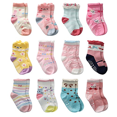 12 Pairs Toddler Girl Non Skid Socks Cute Cotton with Grips, Baby Girls Anti-skid Socks (6-12 Months, 12 Pairs) from Wobon