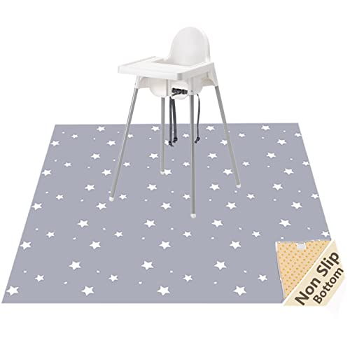 "51"" Splat Mat for Under High Chair/Arts/Crafts, Womumon Washable Spill Mat Waterproof Anti-Slip Floor Splash Mat, Portable Play Mat and Table Cloth (Star) from WOMUMON"