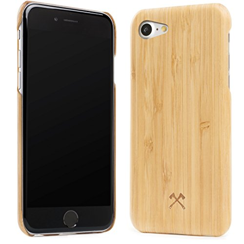 Woodcessories - Case compatible with iPhone SE (2020) / 8/7, Protection made of real, sustainable wood Premium Design, EcoCase Slim (Bamboo) from Woodcessories