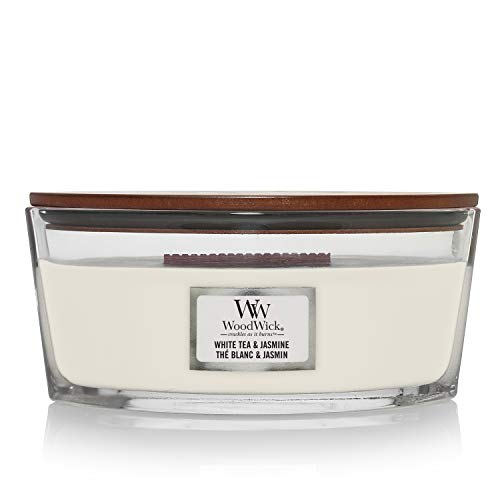 Woodwick Ellipse Scented Candle with Crackling Wick, White Tea and Jasmine from Woodwick