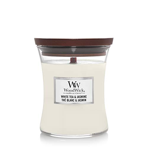 Woodwick Medium Hourglass Scented Candle | White Tea and Jasmine | with Crackling Wick | Burn Time: Up to 60 Hours, White Tea and Jasmine from Woodwick