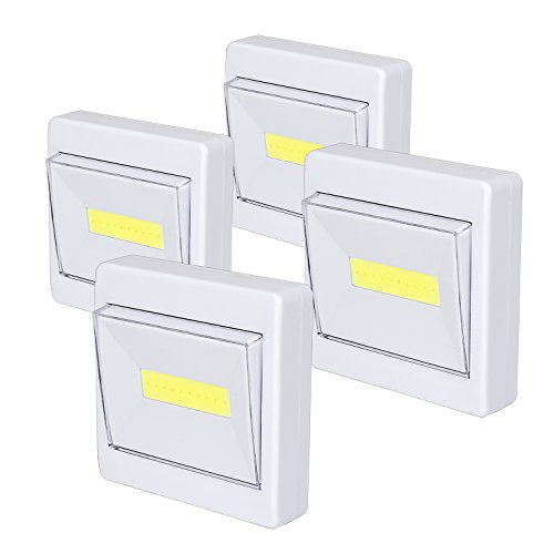Wardrobe Light, Super Bright, Battery Operated, Stick Anywhere, 200 LM Cob Closet Lights, Ideal for Cupboard, Shed, Attic, Basements (4 Packs) from Woputne