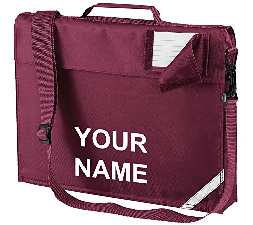 Kids Childrens School Library Reading Book Project Shoulder Strap Bag With Name Printed On by Workwear World (Burgundy/White Print) from Workwear World