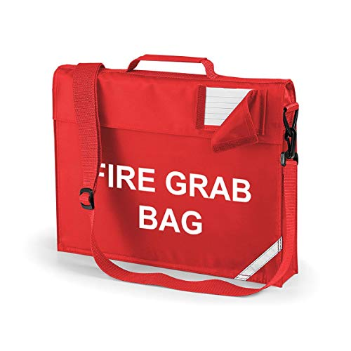 School Evacuation Fire Grab Bag - Printed Red Emergency Documents Shoulder Strap Bag from Workwear World
