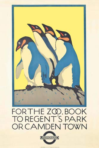 Vintage London Underground FOR THE ZOO, BOOK TO REGENT'S PARK OR CAMDEN TOWN 250gsm ART CARD Gloss A3 Reproduction Poster from World of Art