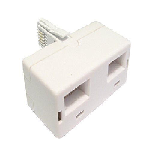 World of Data - 2 Way BT Telephone Socket Splitter - Twin - 2 (Sockets) into 1 (Plug) - White - Phone - Fax - Modem - Answer Machine from World of Data
