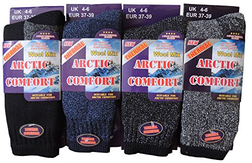 NEW 4 PAIRS Ladies/Womens Arctic Comfort chunky Wool Mix THERMAL socks UK size 4-6 EUR 37-39 from World of Hosiery