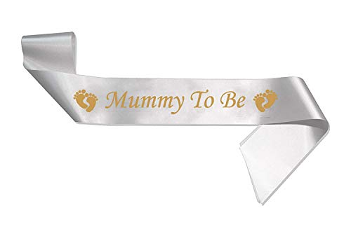 Mummy to Be Baby Shower Party Sash Satin Gold & White from WorldTenda