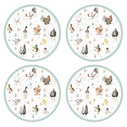 Portmeirion Home & Gifts Wrendale Designs Farmyard Feathers Round Placemat S/4 (s), Wood, Multi, 31x31x0.58 cm from Portmeirion Home & Gifts
