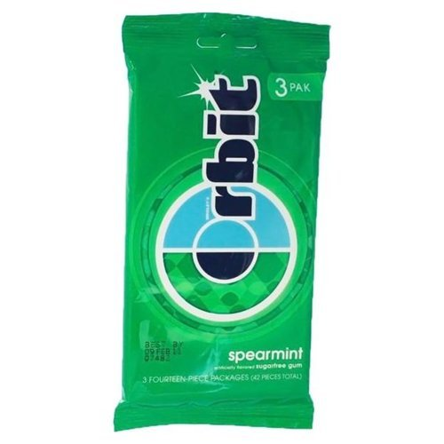 ORBIT - SPEARMINT FLAVOR - SUGAR FREE CHEWING GUM 3 x PACKS - 14 STICK PACKS - (MULTIBUY 3 PACK) AMERICAN IMPORTED from Orbit