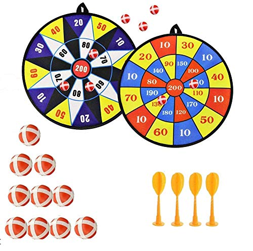 Queta Kids Safe Fabric Dart Board Game Set With 10 Sticky Balls 4 Safety Darts Self-adhesive Target Sports Indoor Outdoor Toss Game for Children Security from Queta