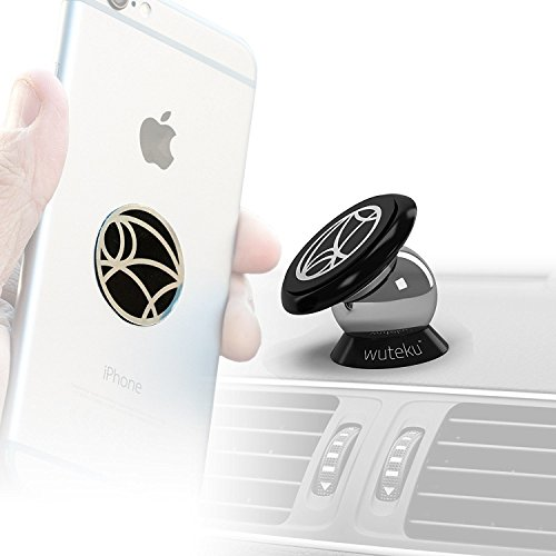 Wuteku Best Car Phone Holder 100% Universal Magnetic Dashboard Mount Kit by For All Vehicles, Phones & Tablets | iPhone X,8,7 Galaxy S8 S7 | 2 Discs & Plate Inc | Top Rated by Uber Drivers from Wuteku