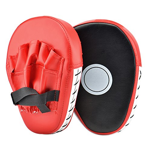 Wuudi 2PCS PU Leather Punching Kicking Palm Pad Hook & Jab Strike Pads Target Mitt Glove for Focus Training of Karate MuayThai Kick Boxing UFC MMA from Wuudi