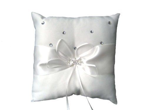 White Satin Wedding Ring Cushion Pillow Bearer with Bow Diamante Boxed from XL WEDDING