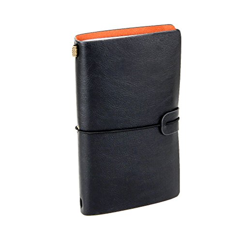 XUAN Leather Refillable Journal Writing Notebook Traveler's Notebook Travel Diary with Elastic Strap Zipper Pocket Lined Blank Grid Pages Birthday Christmas Valentines Gift for Men Girl Boy Dad Black from XUAN