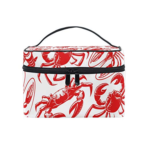 Makeup Cosmetic Bag Seafood Crab Lobster Seamless Pattern Red Portable Storage with Zipper from XiangHeFu