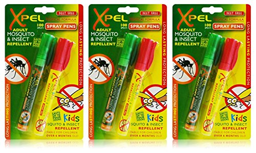 3x Xpel Mosquito Insect Fly Bite Adult & Kids Repellent Tropical PEN Spray from Xpel