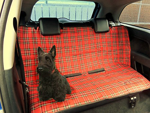 XtremeAuto® Protective Dog/Pet Cover Universal Waterproof 2 in 1 Boot Liner Rear Car Back Seat, RED TARTAN/PLAI from Xtremeauto