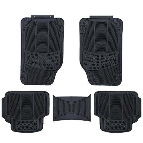 XtremeAuto® Universal Fit 3 Piece Waterproof Heavy Duty BLACK Rubber Front & Rear Car Non-Slip Floor Mats from XtremeAuto