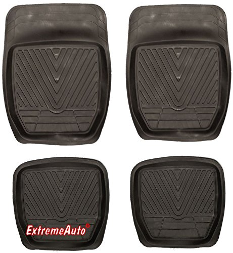 XtremeAuto® Universal Fit Full Set of Front & Rear Deep Tray Rubber Car MATS Black -DRM23 from XtremeAuto