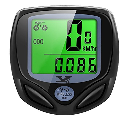 Bike Computer Wireless Waterproof Cycling Computer Automatic Wake-up Multifunctions Bicycle Speedometer and Odometer with Backlight LCD Display-Tracking Distance Avs Speed Time from Y&S