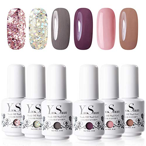 Y&S Soak Off Gel Nail Polish Sets 6 Colours Glitter UV LED Gel Polish Set Washable Manicure Varnish Kit #002, 8ml from Yao Shun