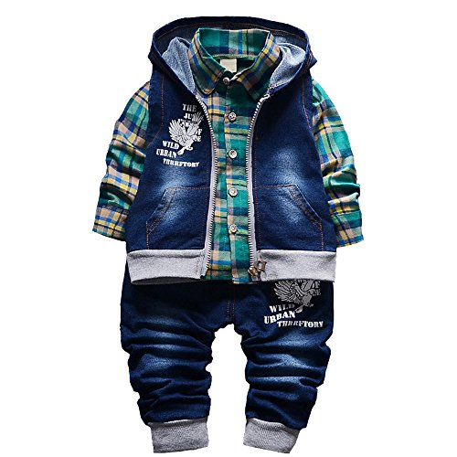 Spring Autumn Baby Boys 3pcs Clothing Set Cotton Shirt Jeans Denim Vest(Green,9-12m) from YAO
