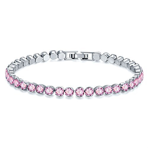 YAZILIND Bracelet Platinum Plated Round Cubic Zirconia for Wedding Party Jewelry (Pink) from YAZILIND