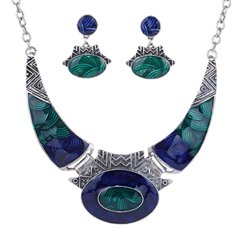 YAZILIND Ethnic Dark Blue Green Embossed Tibetan Sliver Bib Collar Earrings Necklace Jewelry Set Women from YAZILIND